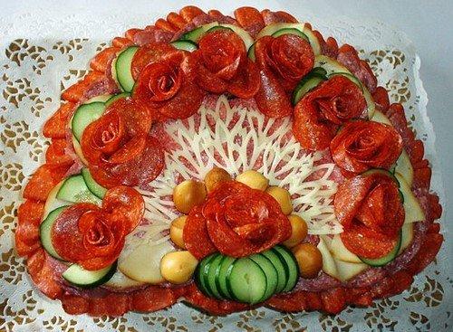красивая мясная нарезка на праздничный стол фото идеи оформление