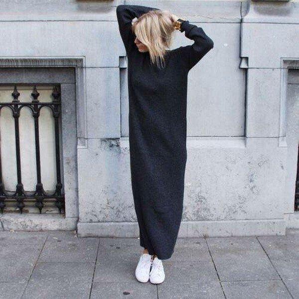 Красивые вязаные платья осень-зима: модные луки на фото