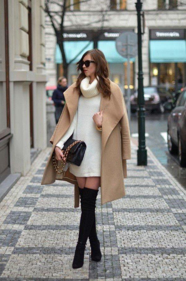 Красивые вязаные платья осень-зима 2020-2021: модные луки на фото