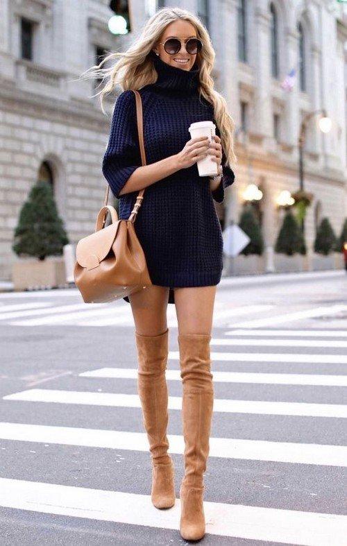 Актуальное платье холодного сезона! Платье свитер. Идеи образов